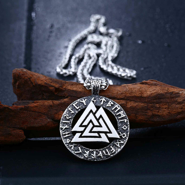 Valknut Viking Warrior Necklace, Stainless Steel