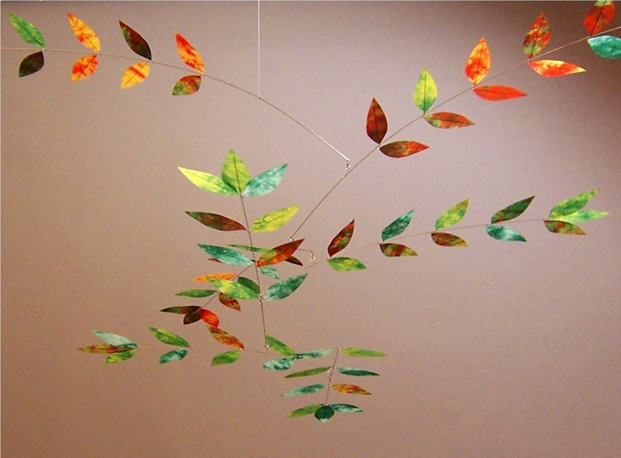 Moon-Lily Dappled Leaf Mobile in Mint/Orange/Yellow