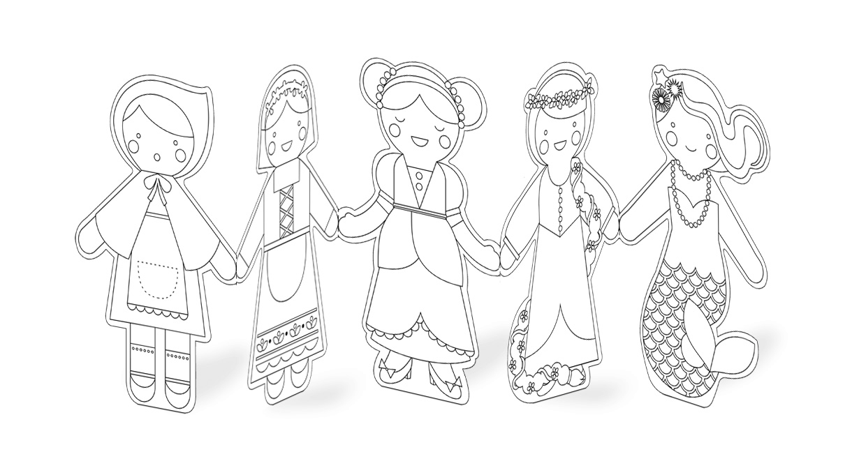 Petit Collage Fairy Tales Paper Doll Chain