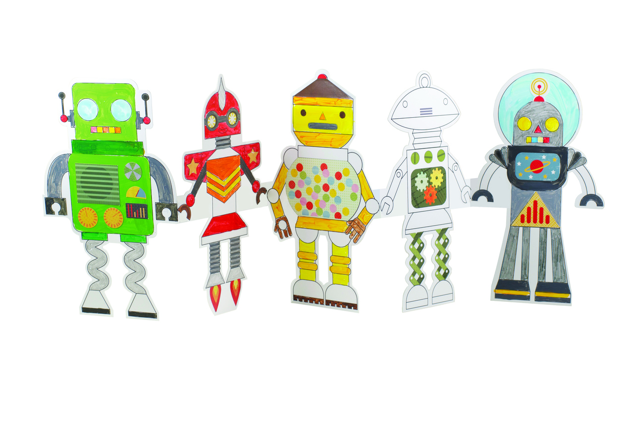Petit Collage Robot Paper Doll Chain