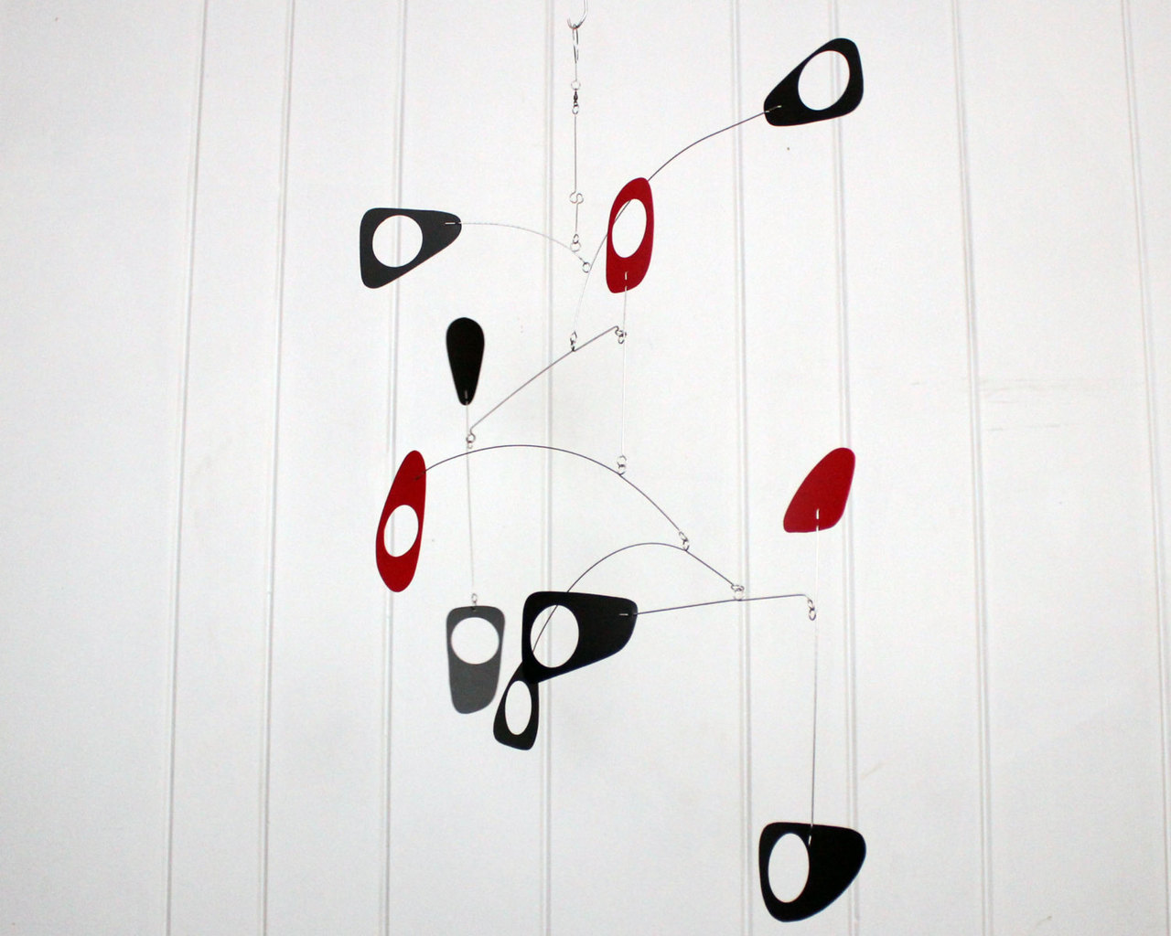 Art Deco Kinetic Mobile in Red and Black