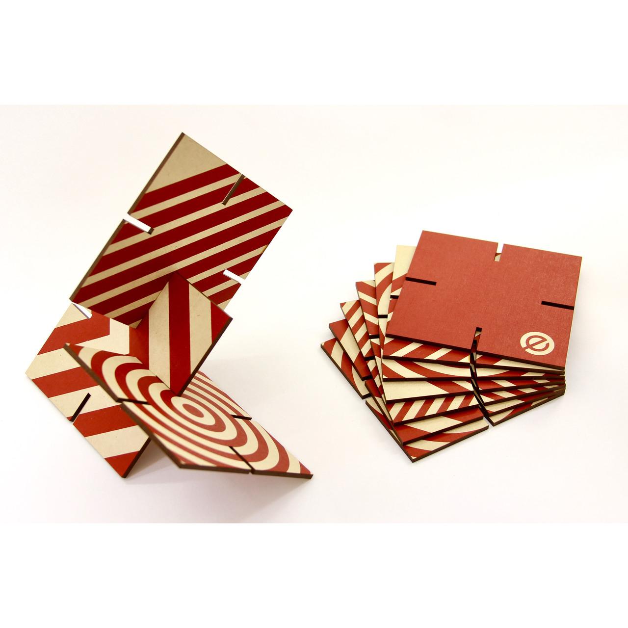 Ekko Workshop Patterened Sculpture Squared, Red