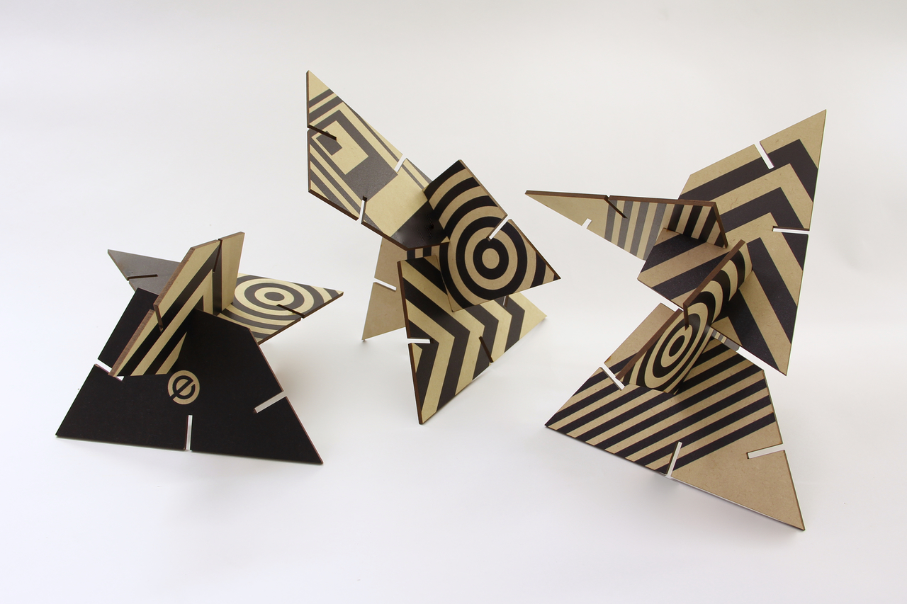 Patterned Sculpture Squared Trapezoid, Black