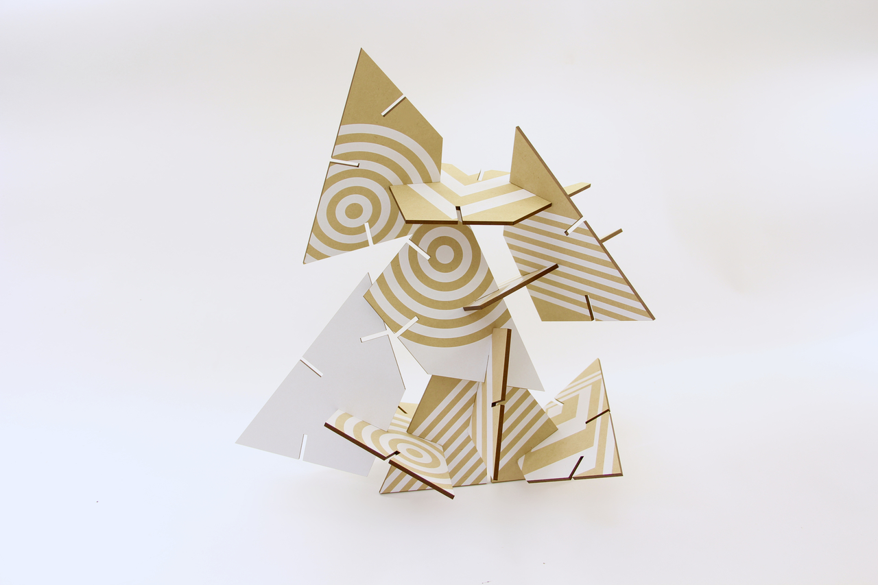 Patterned Sculpture Squared Trapezoid, White