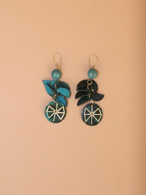 Blue Circular Pendant Earrings