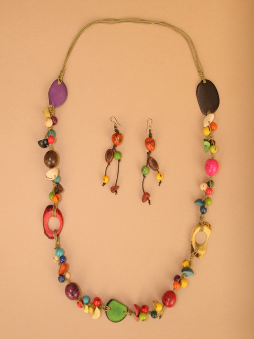 Bright Multi-Color Necklace and Earing Set