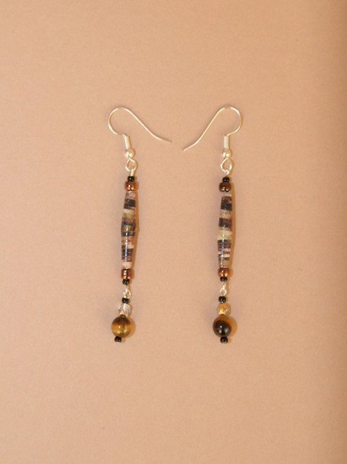 Dark Brown/Black Single Strand Earrings