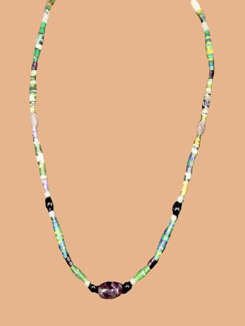 Earth Tone Single Strand Necklace - Eco Beads
