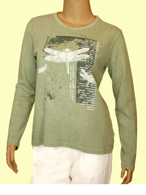 Dragonfly Diaries Long Sleeve Scoop Neck Shirt - Hemp and Cotton Jersey