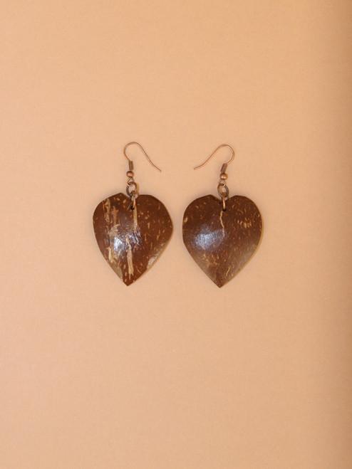 Heart Dangle Coconut Earrings