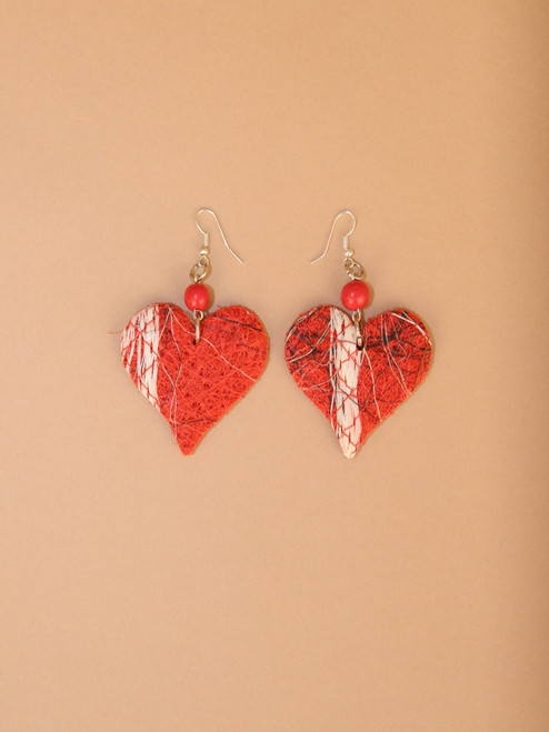 Red Heart  Fique Earrings