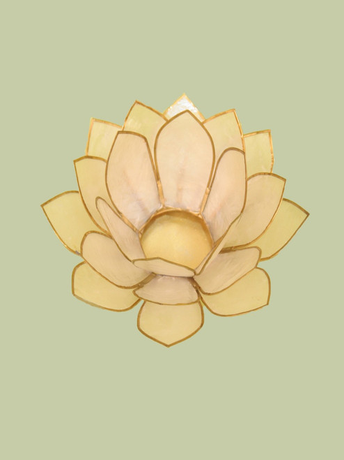 Natural with Gold Large Lotus Tea Light Holder