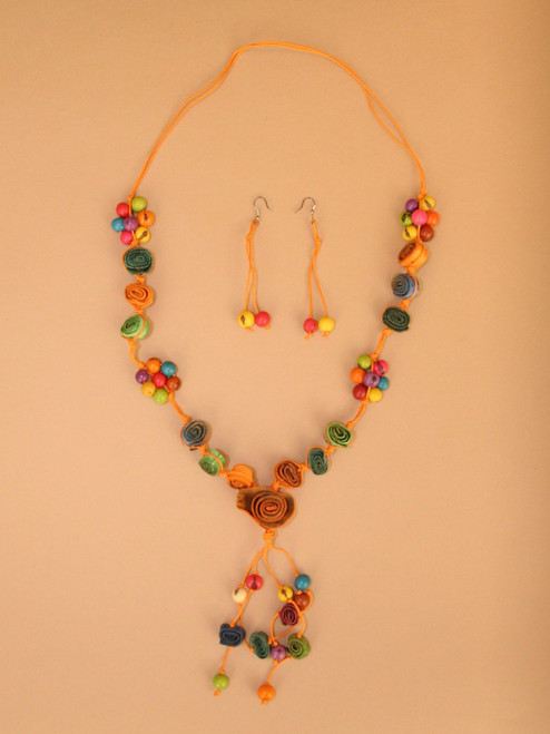 Funky Colors Orange Peel Necklace and Earring Set