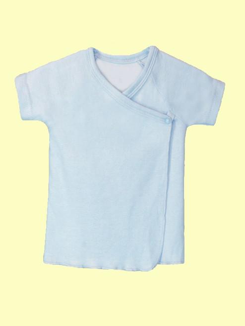 Blue Baby Short Sleeve Undershirt . Organic Cotton - Fair Trade