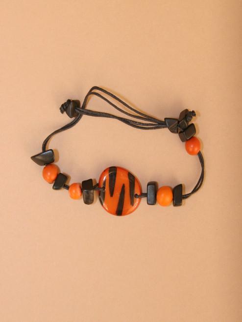 Orange and Black Tiger Tagua Bracelet