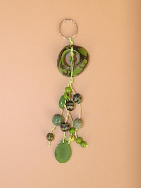 Tagua Green Circle Keychain