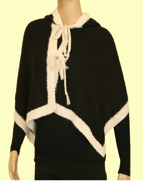Two Color Hooded Capelet - Alpaca