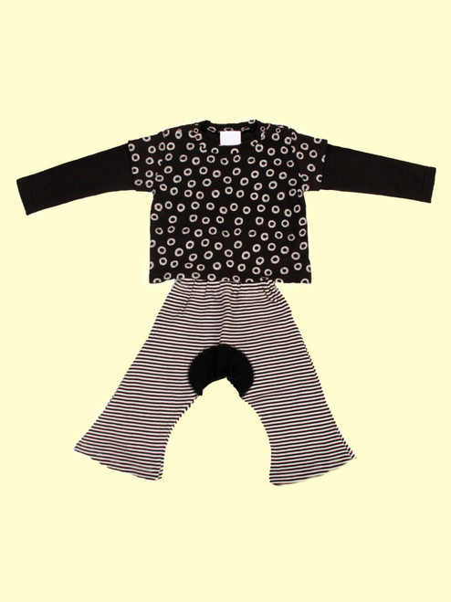 Wa-Tee Black & Black Monkey Pants Set - Organic Cotton