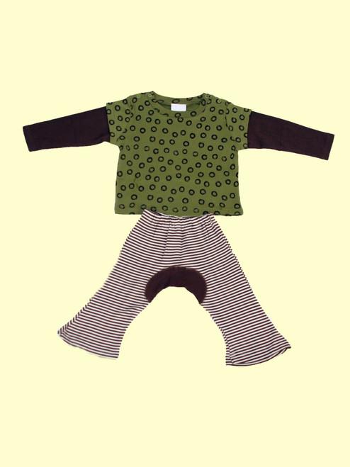 Organic Cotton Wa Tee Green Tea & Brown Monkey Pants - Fair Trade