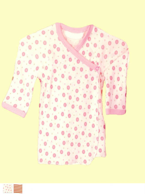Pink Long Sleeve Side Snap T-shirt . Organic Cotton -  Fair Trade