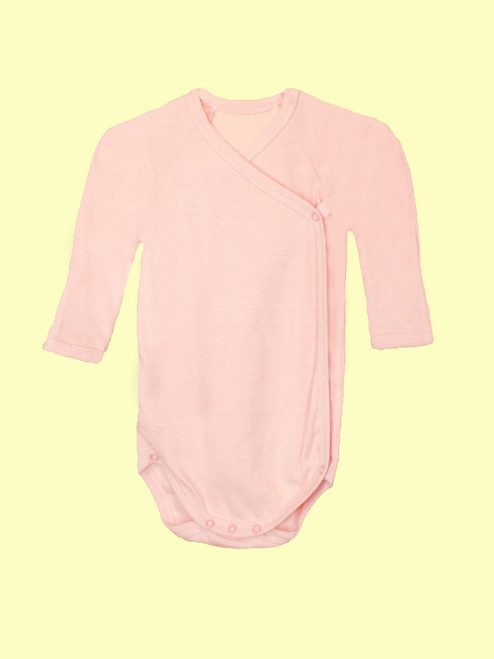 Baby Pink Long Sleeve Onesie . Organic Cotton - Fair Trade