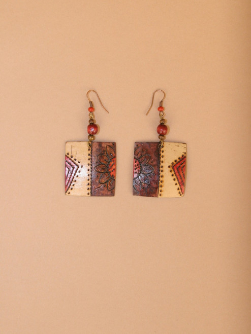 Square Carved Coconut Dangle Earrings