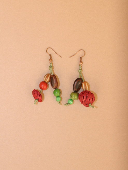 Dangle Peach Pit Earrings