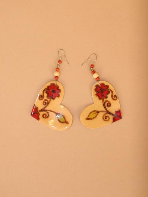 Heart & Flowers Coconut Dangle Earrings