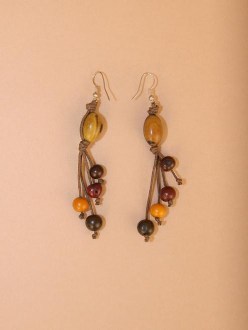 Earth Tagua Seed Dangle Earrings