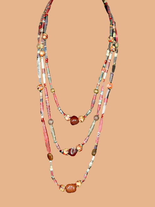 Red Triple Strand Necklace - Eco Beads