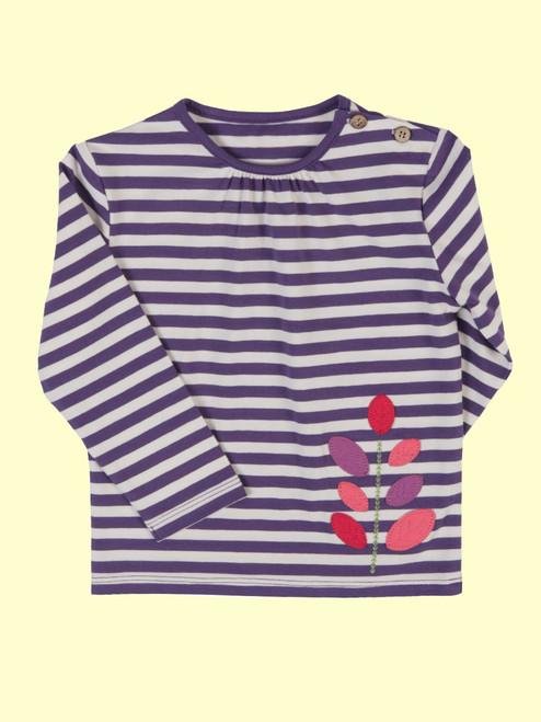 Stripy Leaf T-Shirt  - Organic Cotton