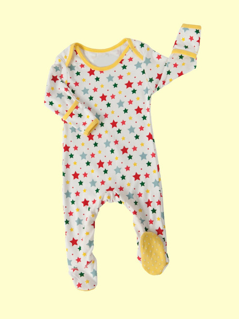 Multi-Star Footed Playsuit . Organic Cotton - Fair Trade