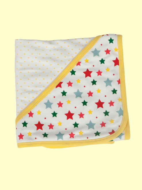 Multi-Star Reversible Hooded Blanket . Organic Cotton - Fair Trade