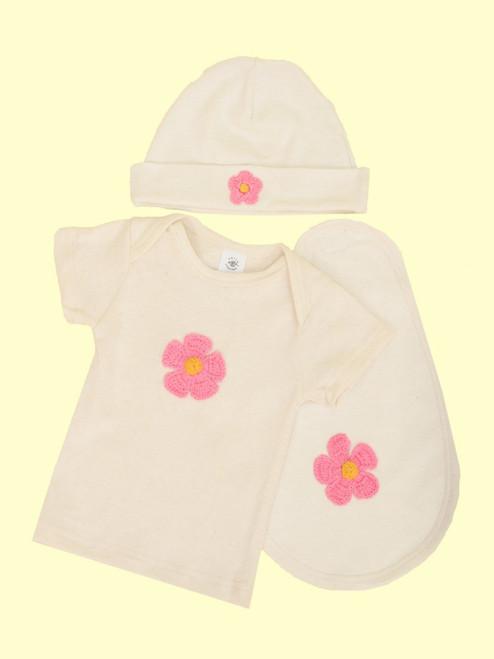 3 Piece Flower Layette Set . Hemp & Organic Cotton - Fair Trade