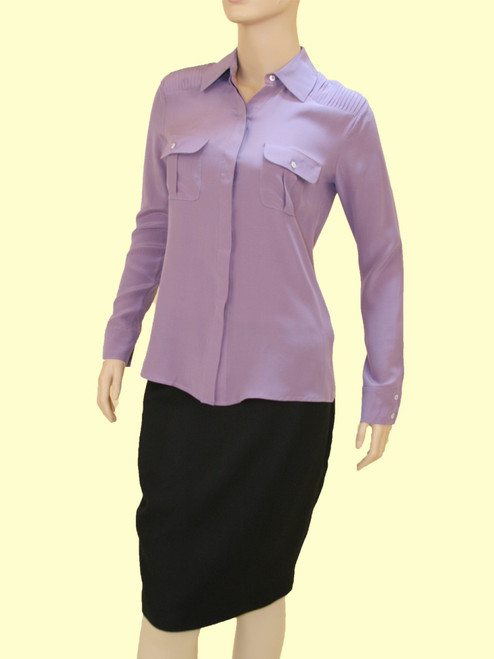 Relaxed Shirt w/Contrast Pockets - 100% Silk Crepe