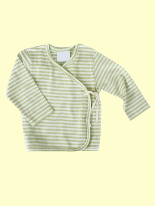Organic Cotton Striped Sage Baby Kimono - Fair Trade