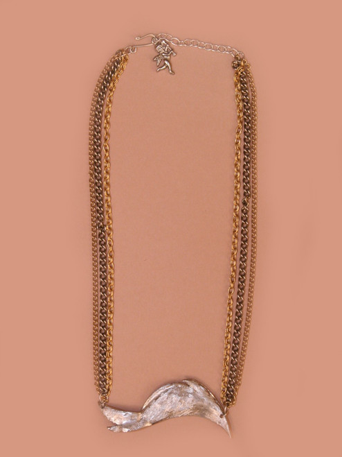 Silver Leaf And Multi Chain Necklace - Vintage Recycled Metal