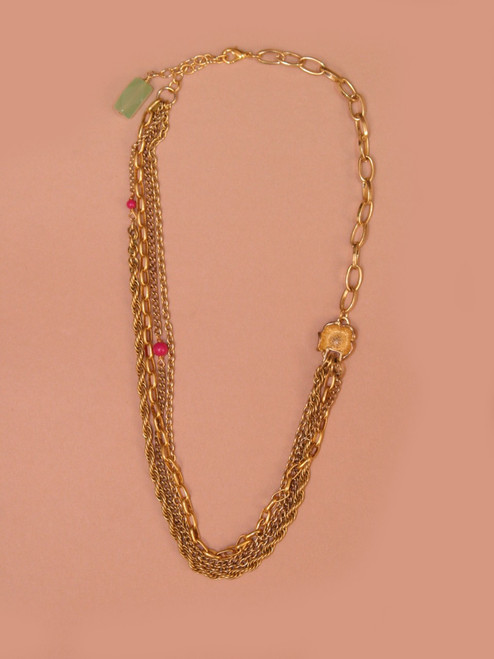 Five Multi Chain Necklace With Flower Accent -Vintage Recycled Metal