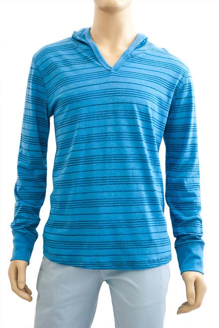 Men's V-Neck Hoodie Mini Crazy Stripe - Organic Cotton Blend
