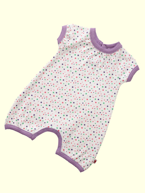 Spotty Rainbow Pink Short Sleeve Playsuit . Organic Cotton - Fair Trade