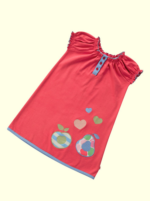 Poppy Red Fruit  Applique Dress . Organic Cotton - Fair Trade