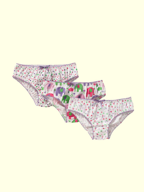 Girls Panties 3 PK (Spotty/Elephant/Floral) . Organic Cotton - Fair Trade