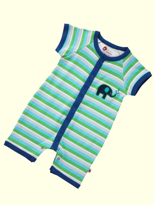 Stripy Rainbow Blue Short Sleeve Playsuit . Organic Cotton - Fair Trade