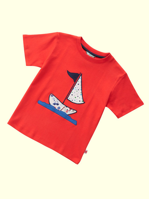 Sail-Away Short Sleeve Applique T-Shirt - Organic Cotton