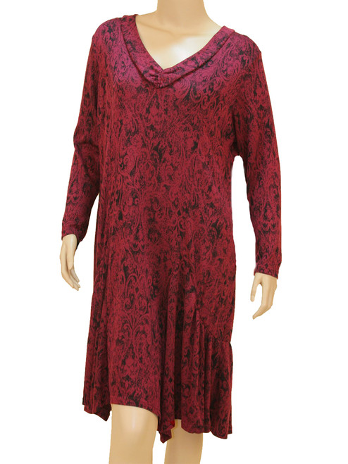 Women's Plus Size Halogen Wine Filigree Tunic Dress - Bamboo Viscose