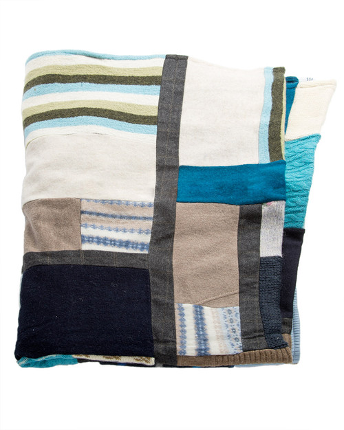 Blue Love  Quilt - Recycled Vintage Fabrics