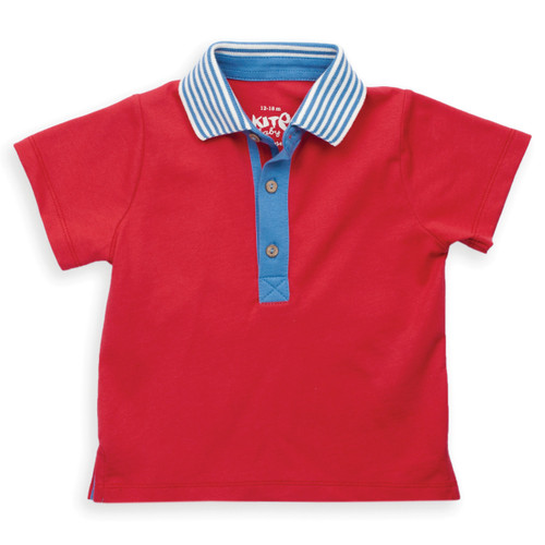 Organic Cotton Baby Stripy Collar Polo Shirt - Fair Trade