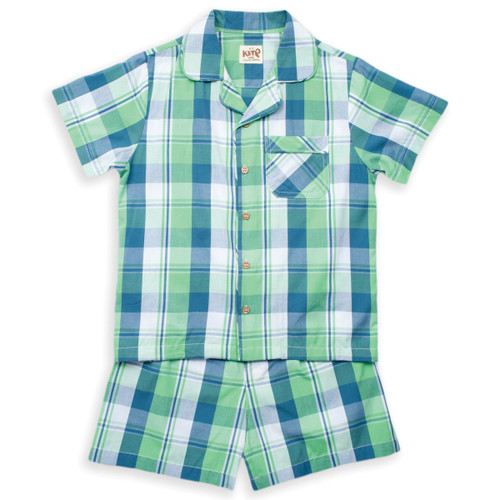 Organic Cotton Boys Check Shortie Pajama - Fair Trade
