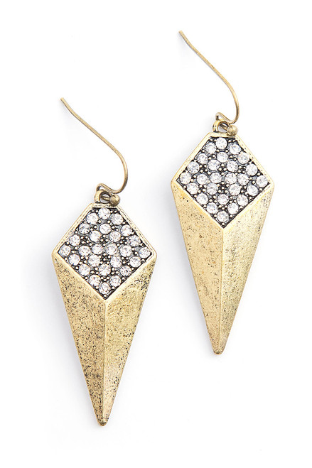 Macy Clark II  Earrings . Reclaimed Brass