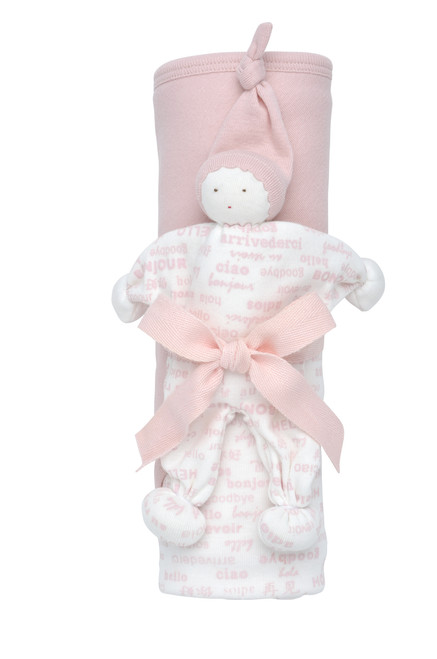 Pink Organic Cotton Hooded Blanket Gift Set